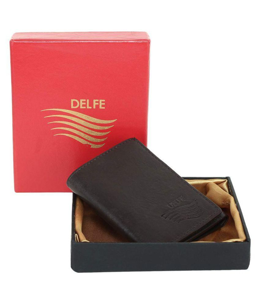 Delfe Leather Brown Casual Short Wallet