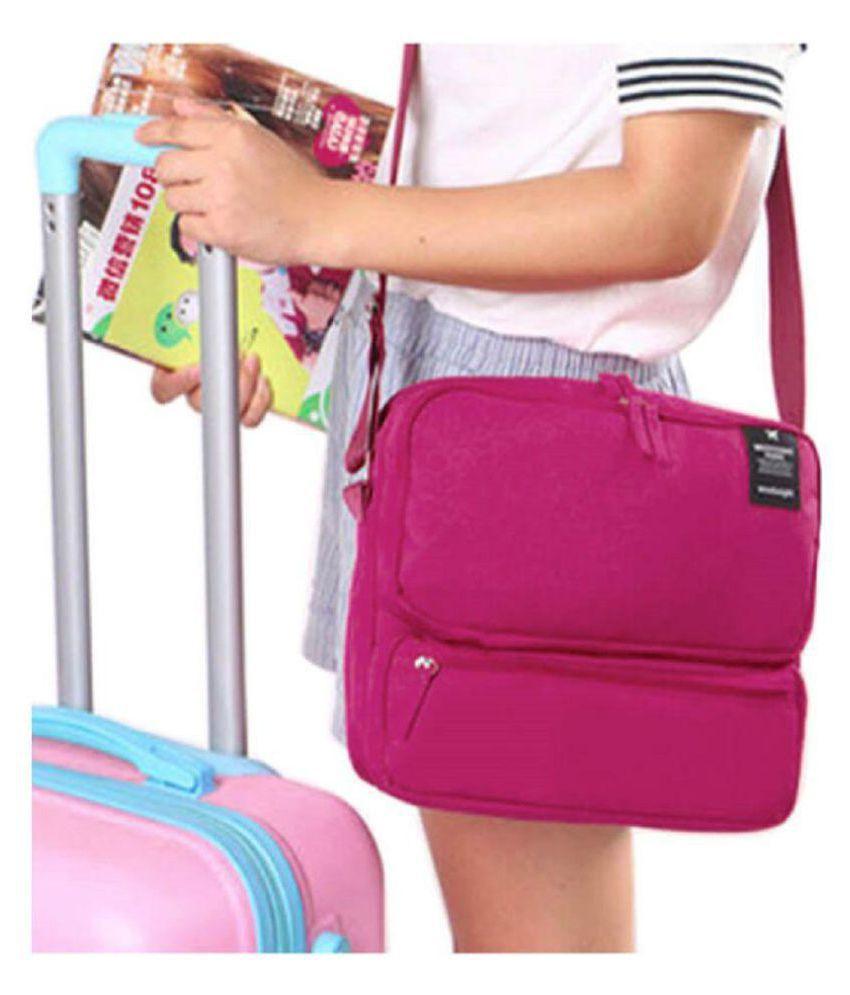 Awestuffs Trendy Business Pink Canvas Casual Messenger Bag