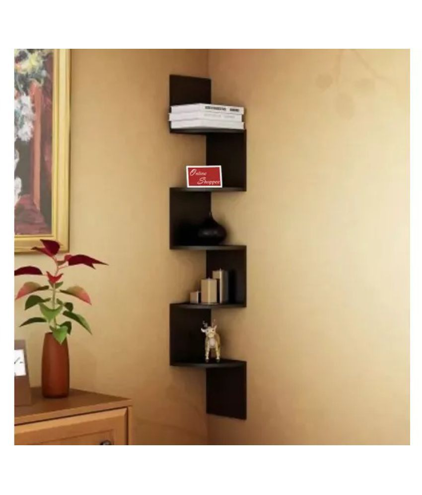 Onlineshoppee Wooden Fancy Zigzag Wall Mount Floating Corner Wall Shelf   Black