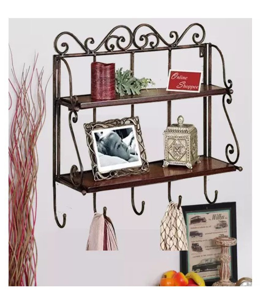 Onlineshoppee Home Decor 2 Shelf Book/ Kitchen Rack With Cloth/Key Hanger