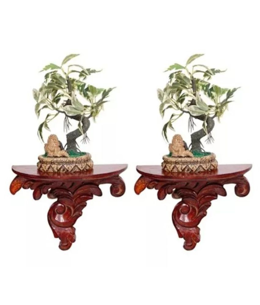 Onlineshoppee Wooden Wall Bracket/Rack - Pack Of 2