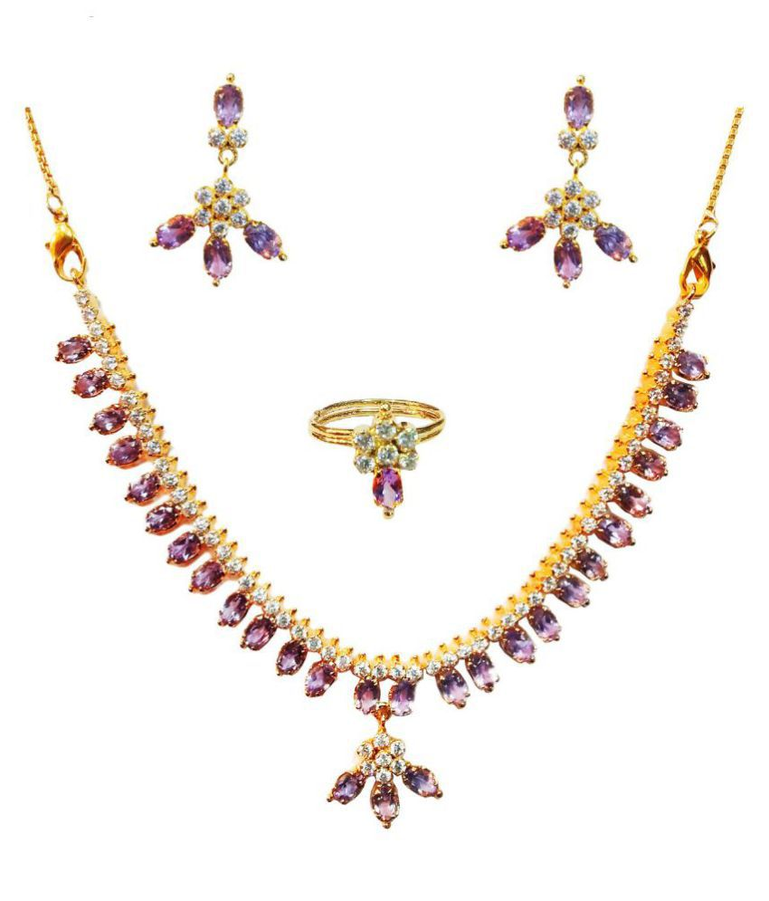 Vinayak Alloy Purple Collar Contemporary/Fashion 18kt Gold Plated Necklaces Set