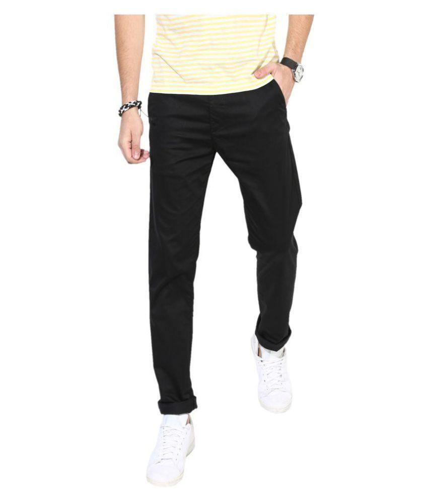 HALOGEN Black Skinny -Fit Flat Trousers