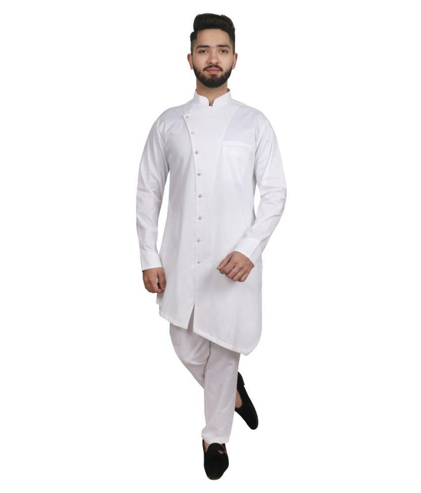 SG LEMAN White Cotton Blend Kurta Pyjama Set
