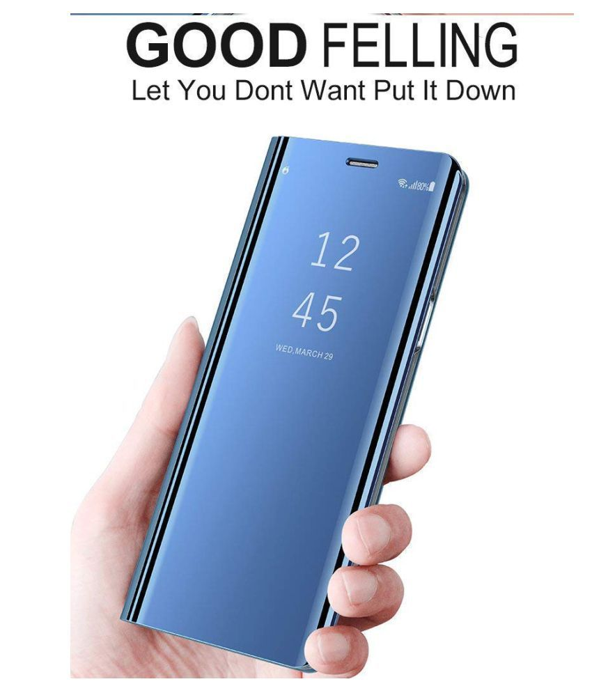Samsung Galaxy A9 Star Flip Cover by ClickAway - Blue Kickstand Mirror Electroplate Smart View Cover