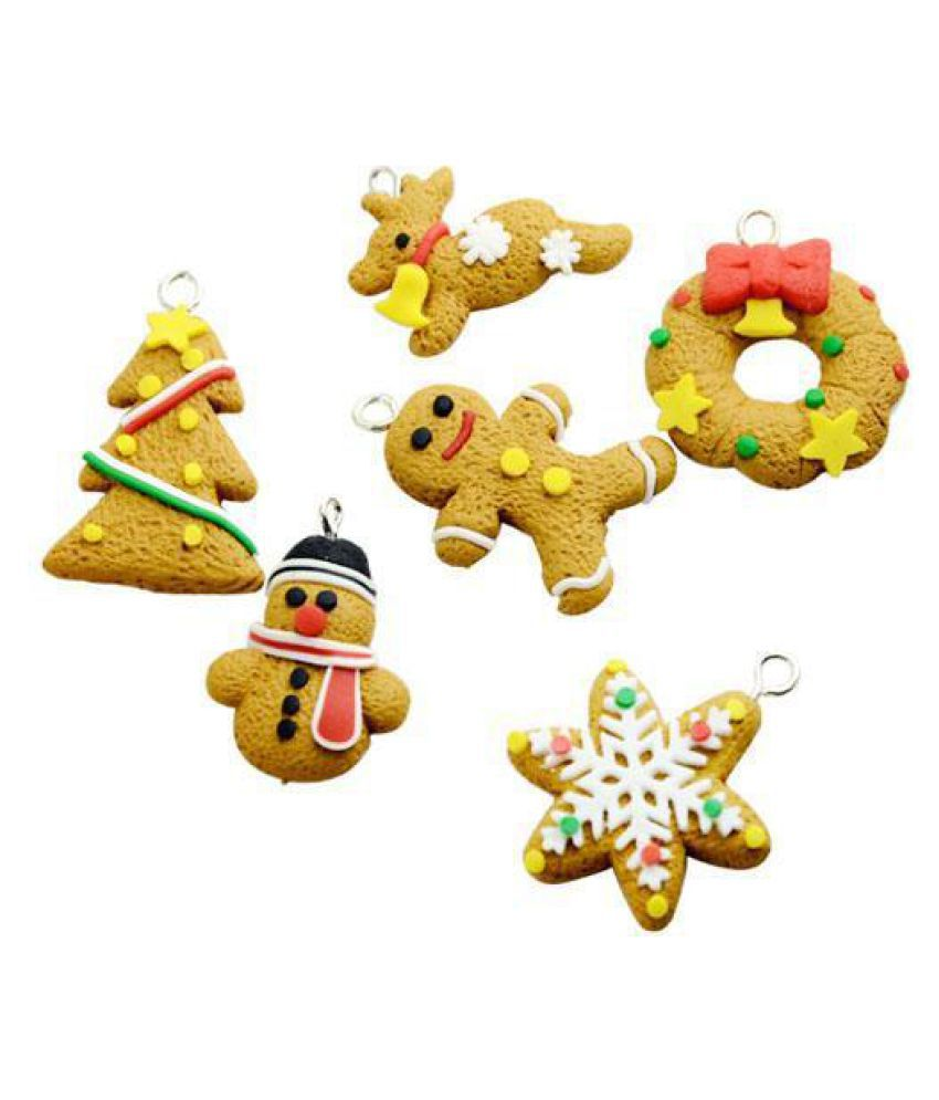 Polymer Clay Christmas Decorations.6pcs Christmas Ornament Polymer Clay Drop Pendants Christmas Tree Phone Hanging Accessories Gift