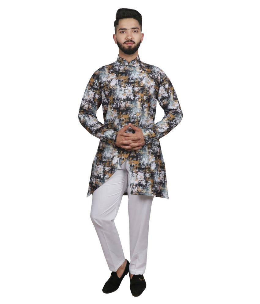 SG LEMAN Gold Cotton Kurta Pyjama Set