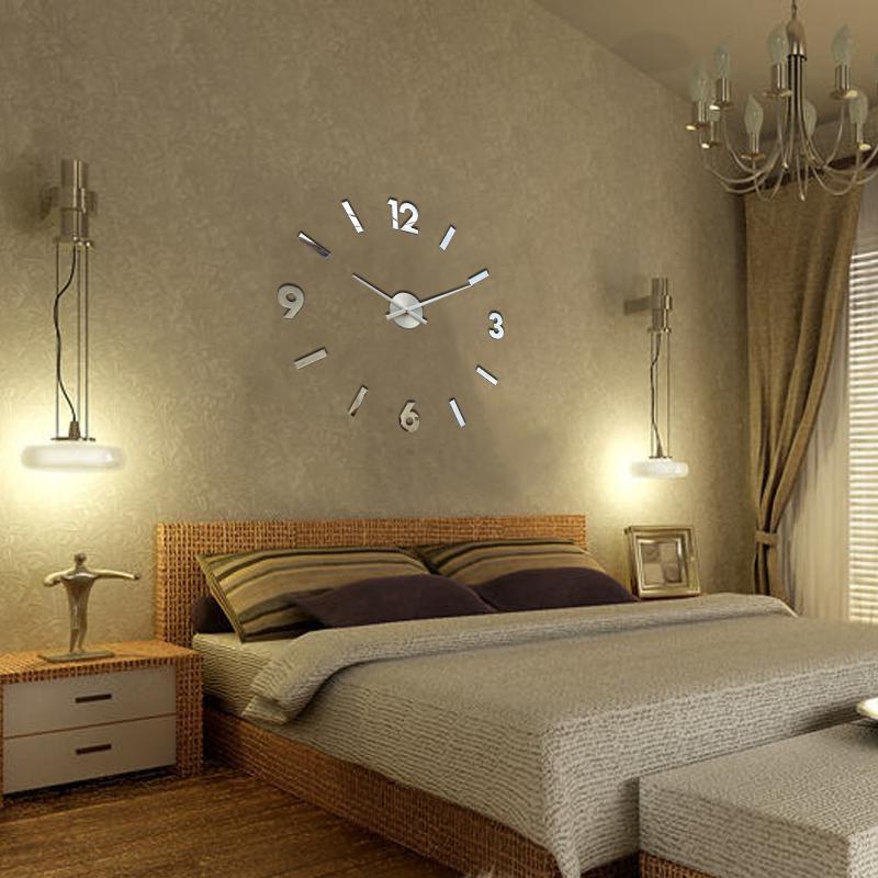 Modern 3D DIY Wall Clock Large Number Home Decoration Living Room Bedroom