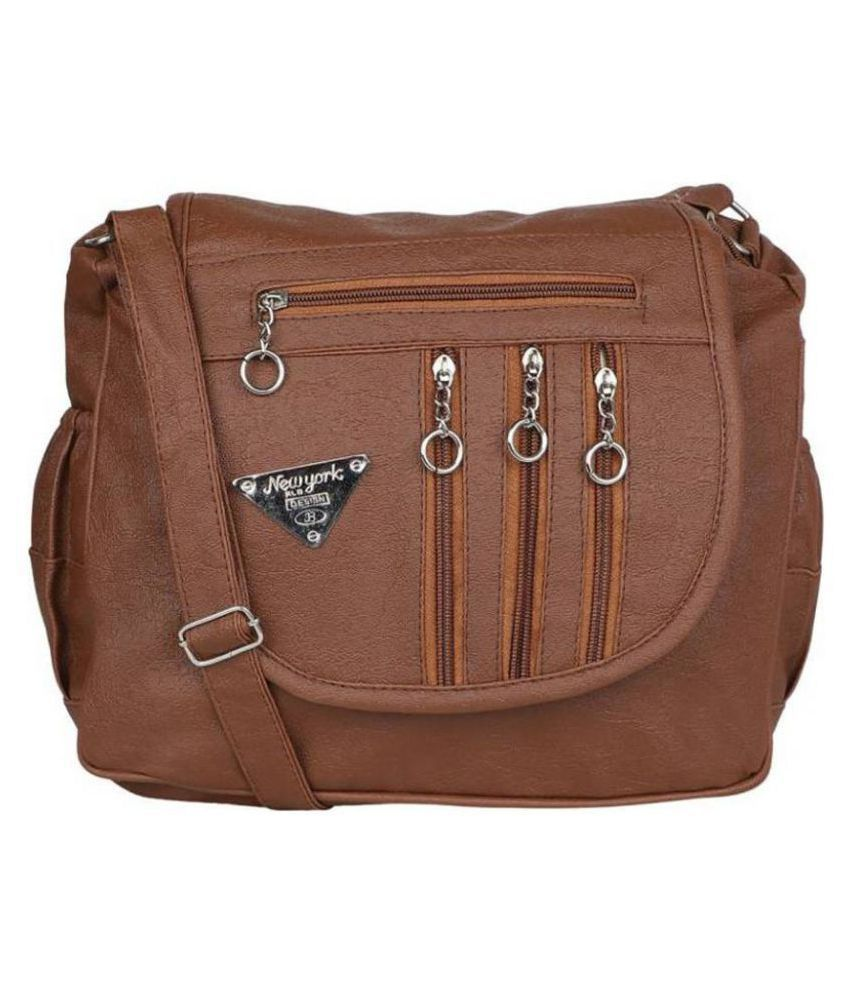 sr sales Chocolate Brown Faux Leather Sling Bag