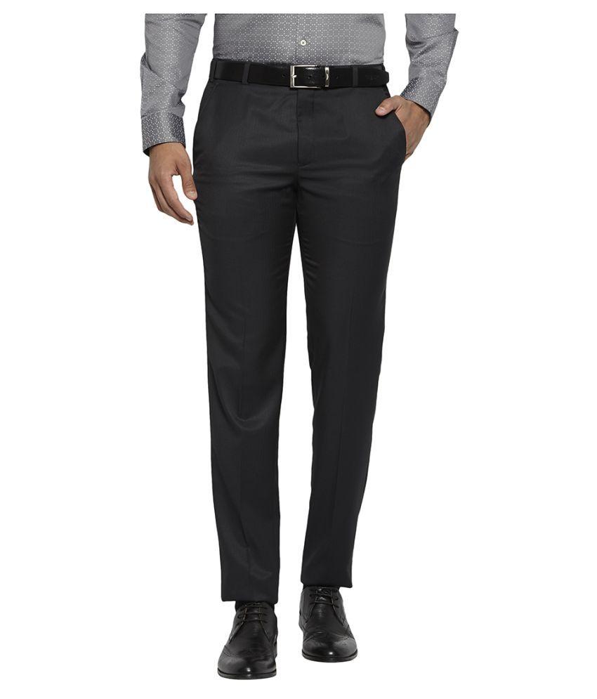 Next Look Blue Slim -Fit Flat Trousers