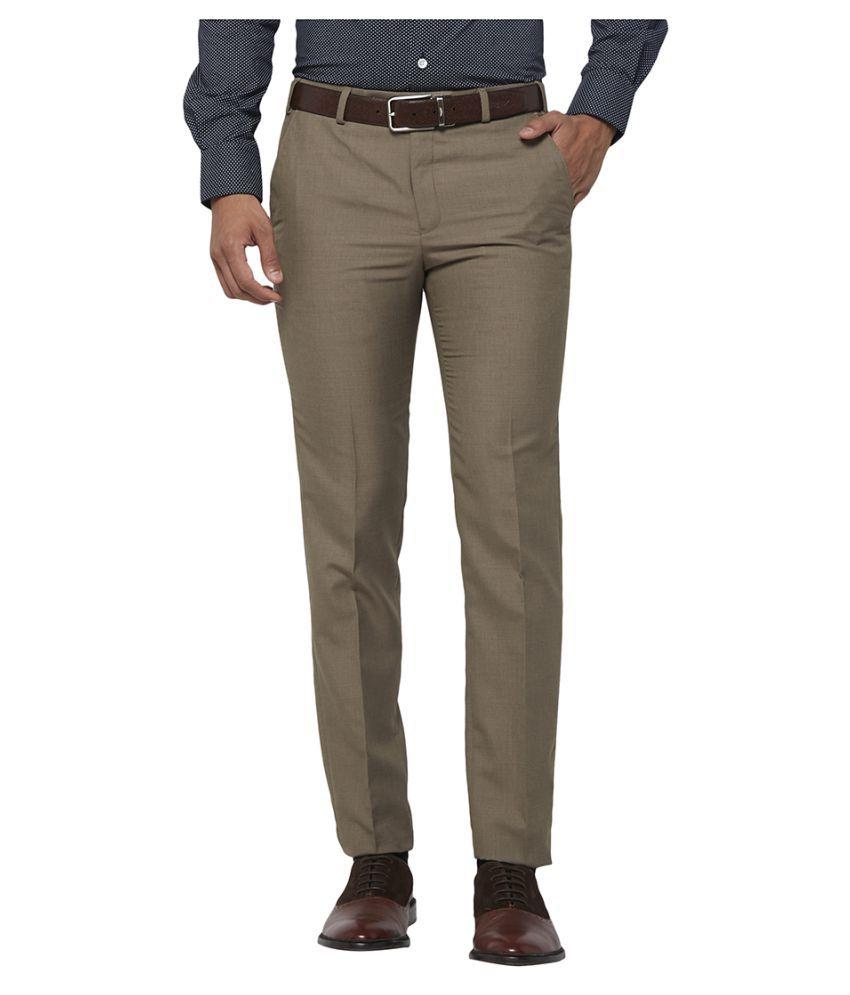 Next Look Brown Slim -Fit Flat Trousers
