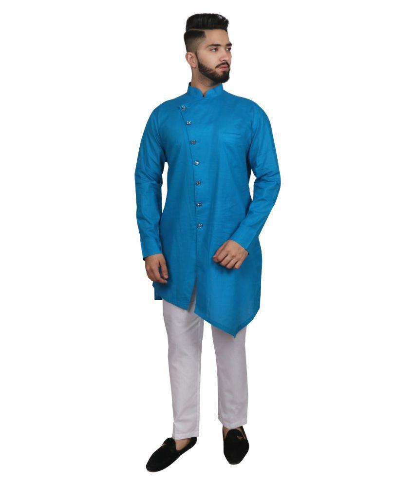 SG LEMAN Blue Cotton Kurta Pyjama Set