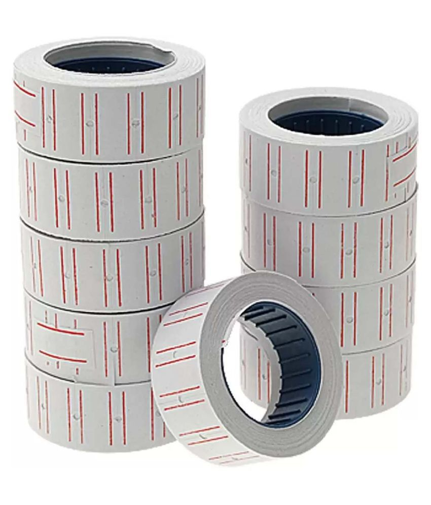 White Price Label Roll with MRP Print Set - Pack of 10 Rolls