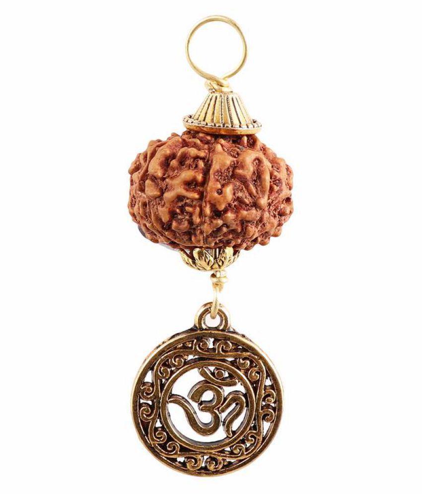 Rudra Blessings 8 Mukhi Indonesian Rudraksha Pendant with OM Accessory
