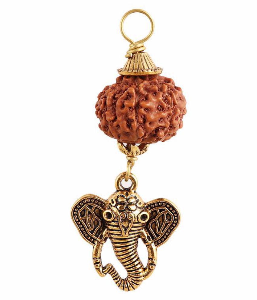 Rudra Blessings 8 Mukhi Indonesian Rudraksha Pendant with Elephant Accessory - 3