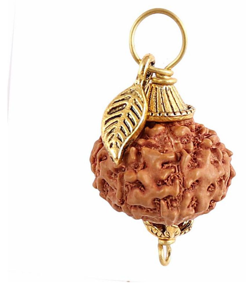 Rudra Blessings 9 Mukhi Indonesian Rudraksha Pendant with Leaf Accessory