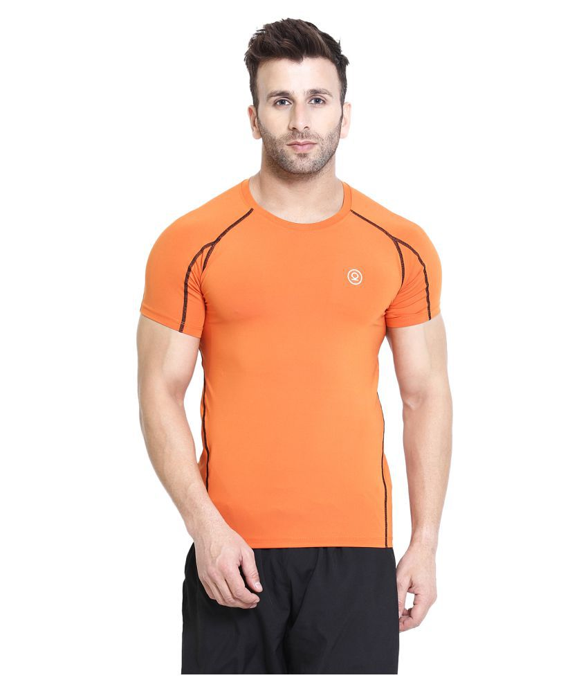 CHKOKKO Polyester Men's Round Neck Regular Fit Dry Fit Stretchable Yoga Gym Sports Tshirts Orange XXL
