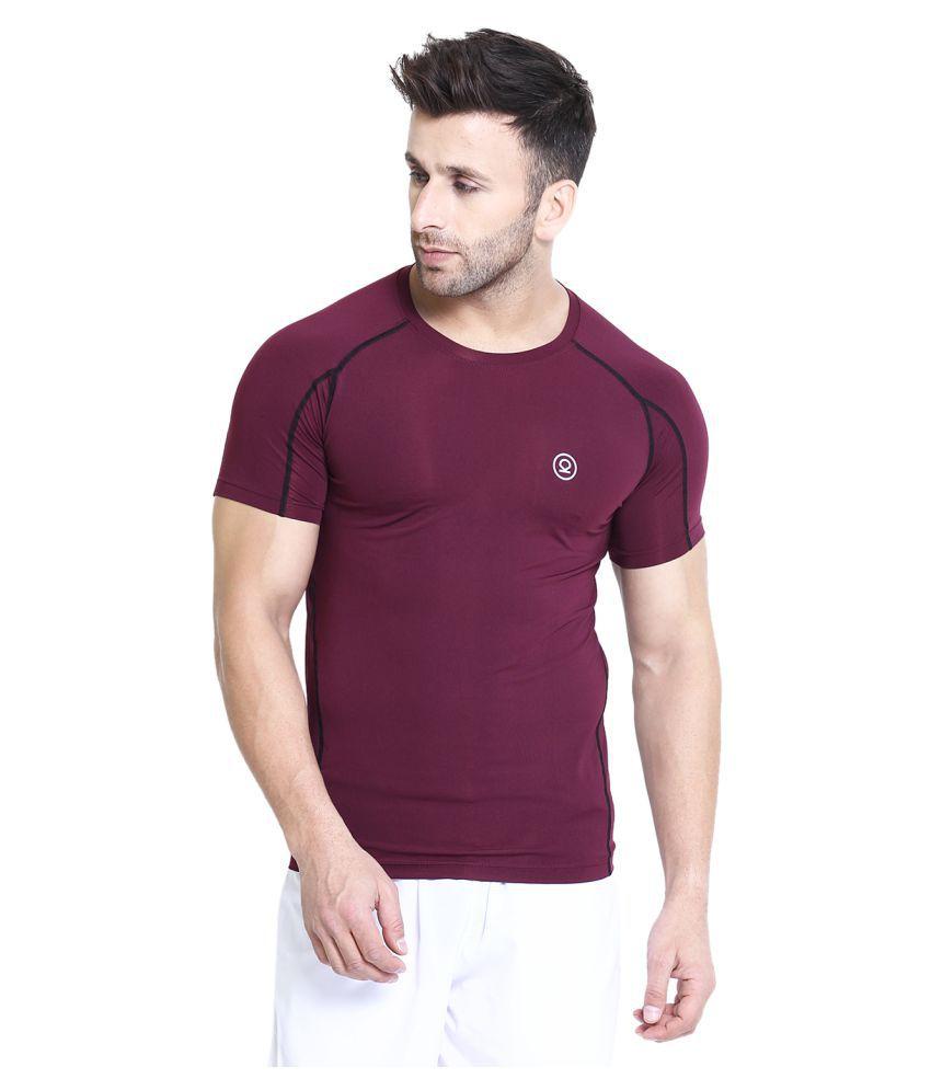 CHKOKKO Polyester Men's Round Neck Regular Fit Dry Fit Stretchable Yoga Gym Sports Tshirts Burgundy XXL