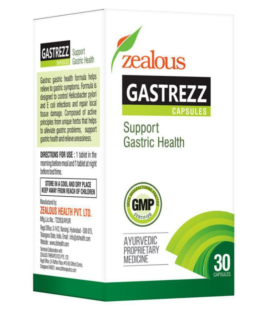 GASTREZZ, gastritis, peptic ulcer, belching, acidity, 30 tablets, Zealous  Health G1NM01 Tablet 15 gm Pack Of 1