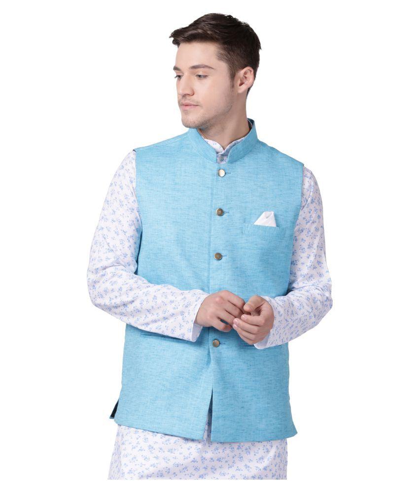 Tabard Blue Cotton Nehru Jacket