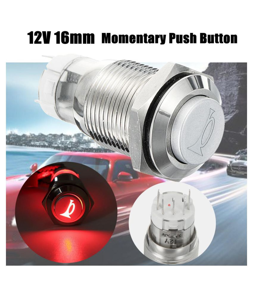 12V 16mm Car Switches Red LED Light Waterproof Momentary Horn Metal Push  Button Switch Stainless Steel