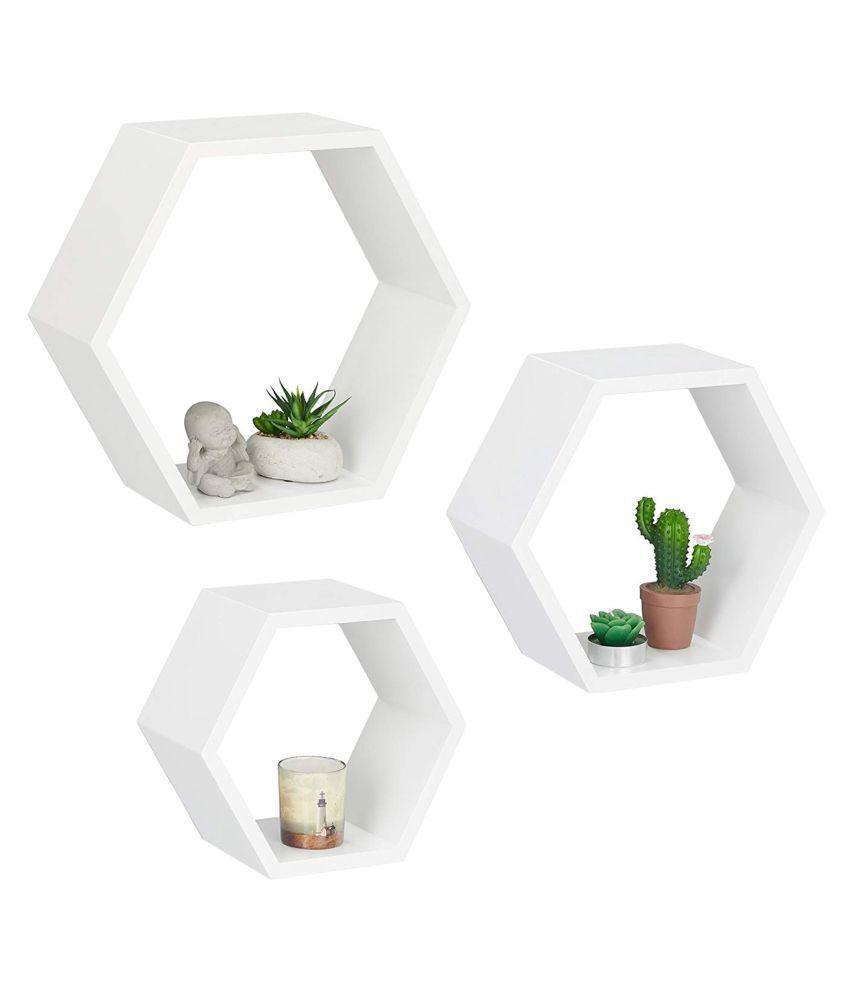 Onlineshoppee Fancy Set of 3 Hexagonal Shape MDF Wall Shelf Color- White
