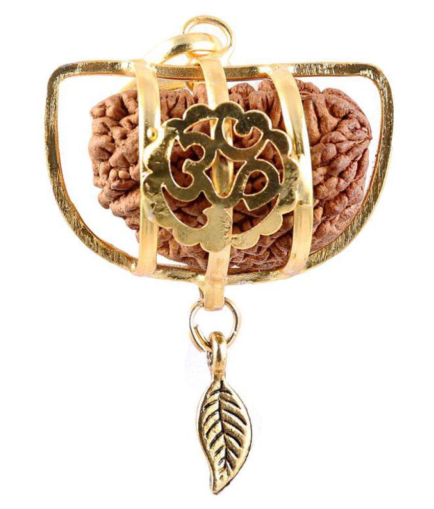 Rudra Blessings Original 1 Mukhi Rudraksha with Lucky Charm Leaf pendant