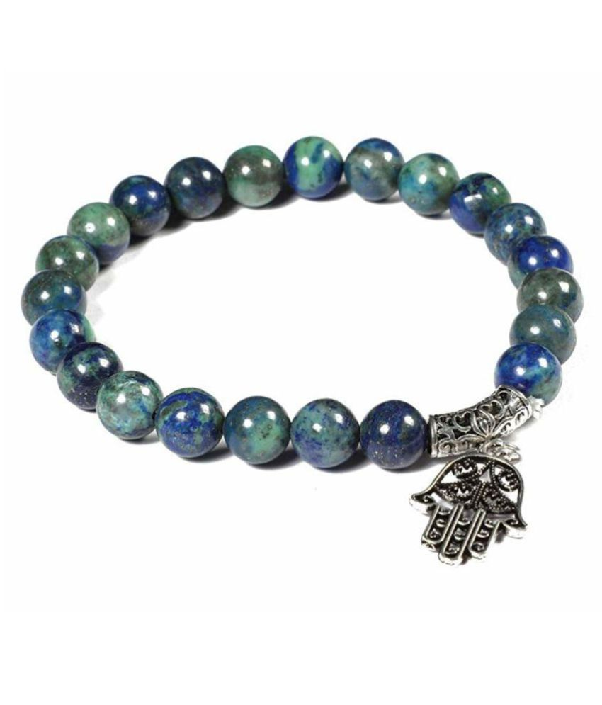 8mm Green and Blue Azurite with Humsa Natural Agate Stone Bracelet