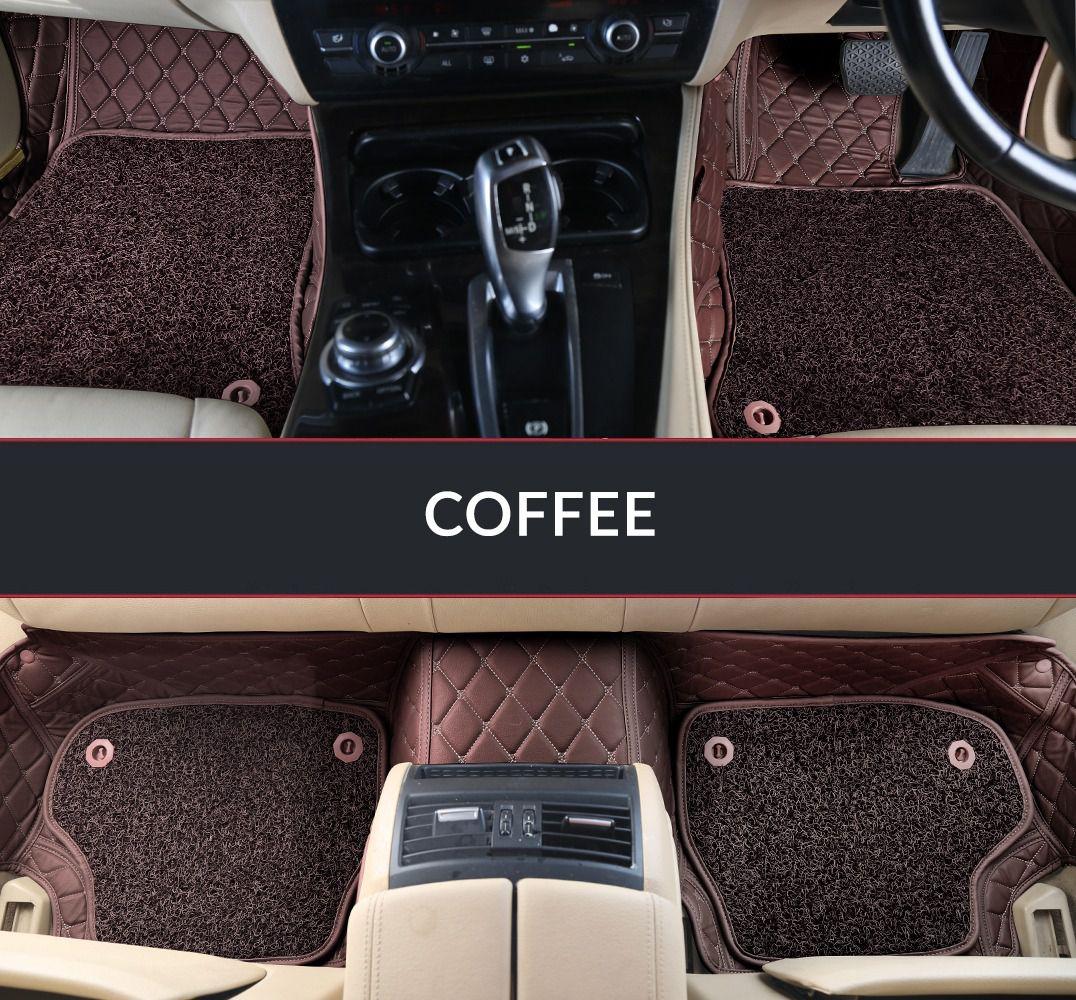 Autofurnish 7D Luxury Car Mats For Tata Safari Dicor - Coffee - Set of 3 Mats