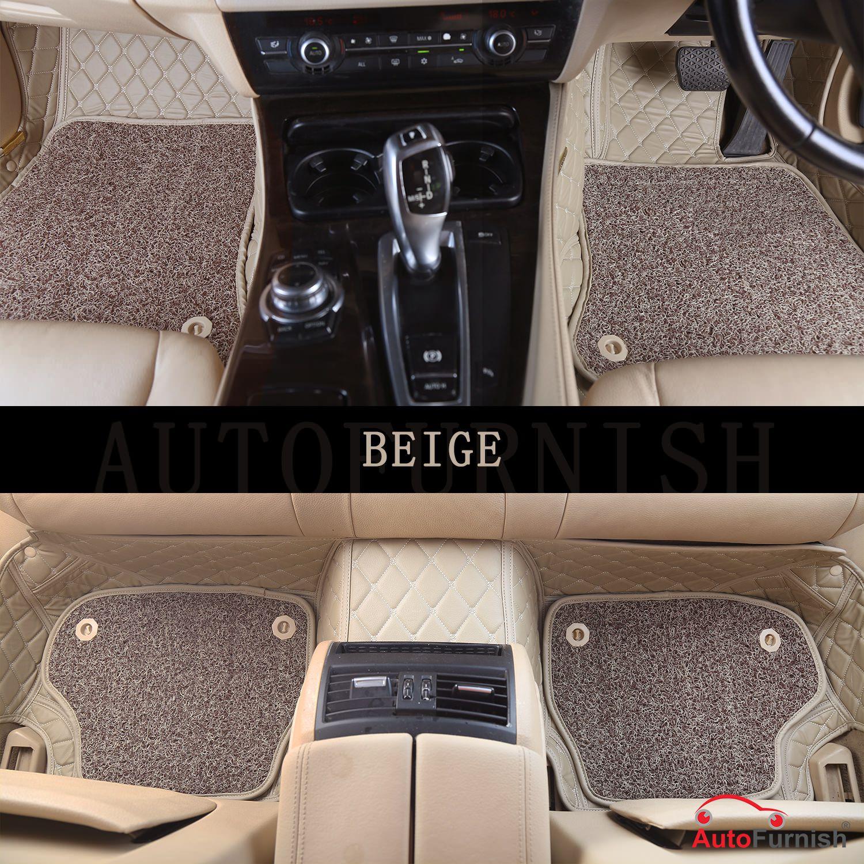 Autofurnish 7D Luxury Car Mats For Honda Civic 2019 - Beige - Set of 3 Mats