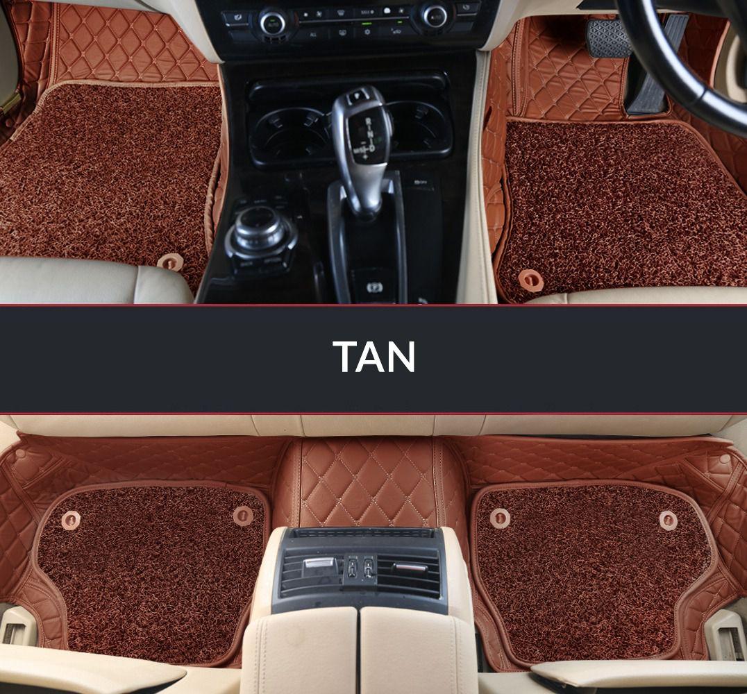 Autofurnish 7D Luxury Car Mats For Toyota Fortuner 2015 - Tan - Set of 4 Mats
