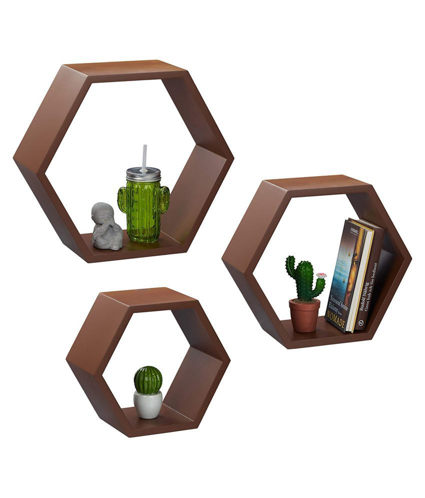 Onlineshoppee Fancy Set of 3 Hexagonal Shape MDF Wall Shelf Big Color- Brown