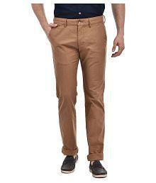 Indian Terrain Brown Slim -Fit Flat Trousers