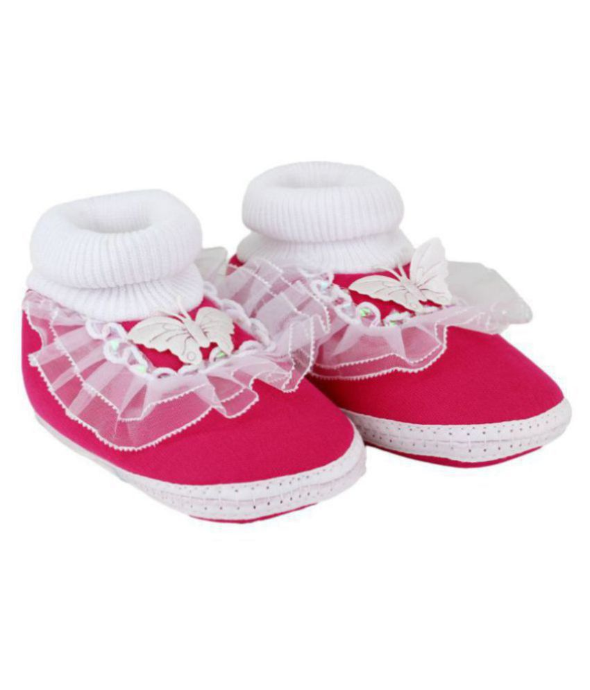 Neska Moda Baby Boys & Girls Frill Butterfly Pink Booties For 0 To 12 Months Infants