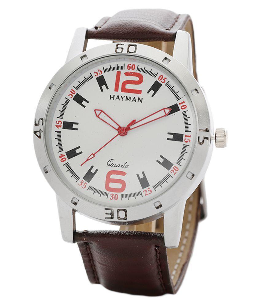 Hayman white dail Leather Analog Men's Watch