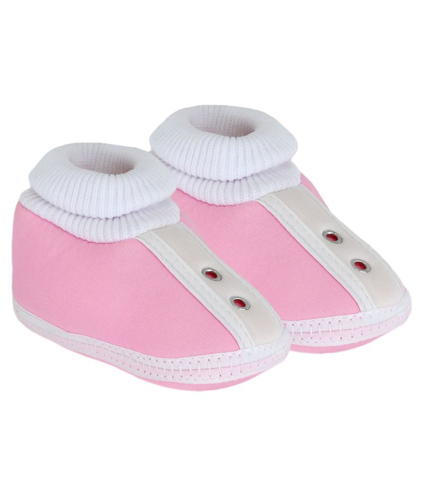 Neska Moda Baby Unisex Studd Baby Pink Booties/Shoes For 0 To 12 Months Infants-SK180