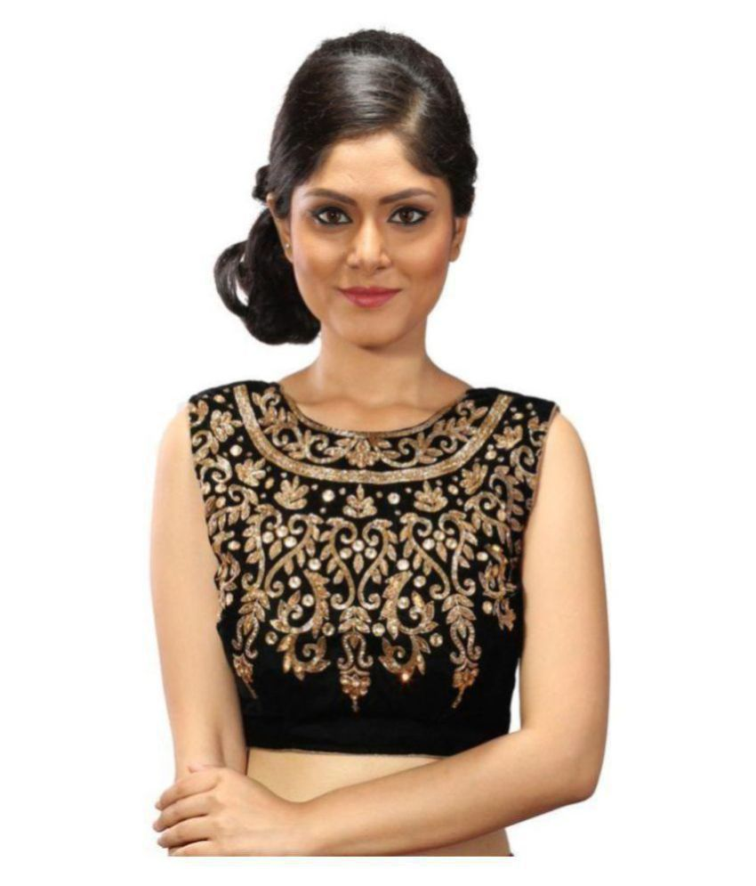 Intrigue Black Velvet Readymade with Pad Blouse