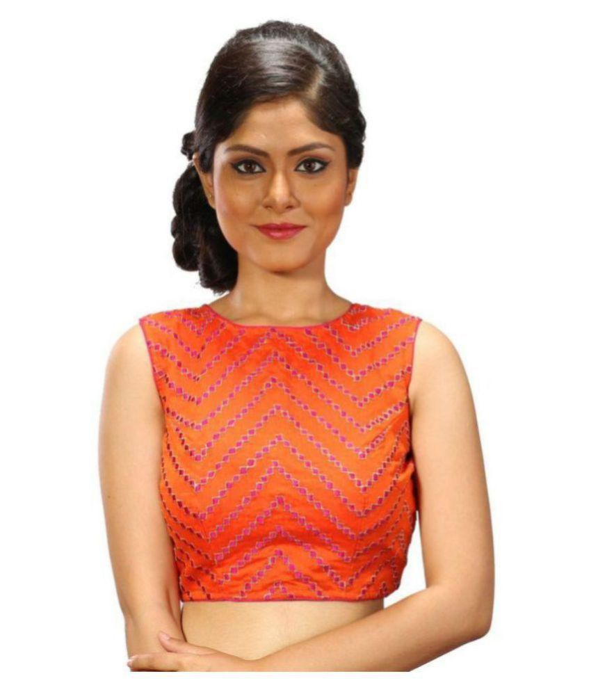 Intrigue Orange Silk Readymade without Pad Blouse
