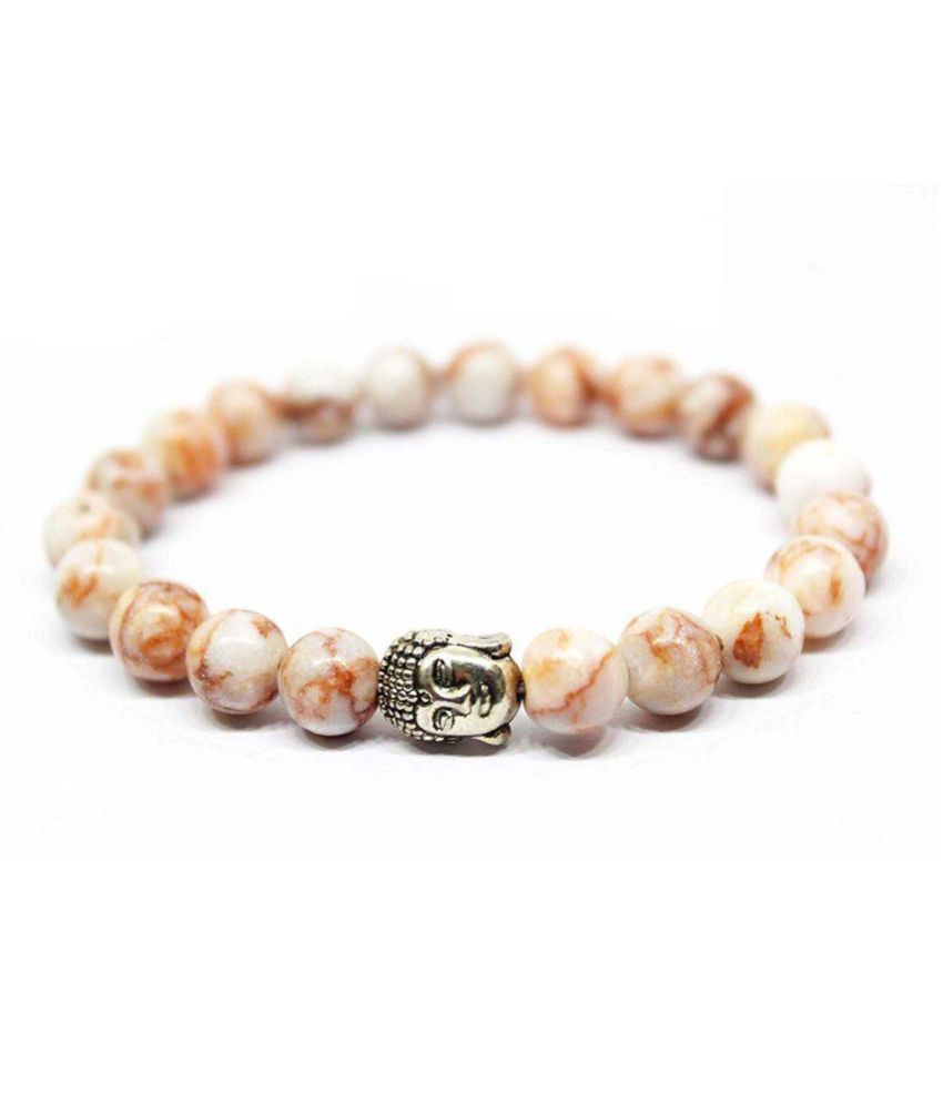 8mm Red Picasso Jasper With Buddha Natural Agate Stone Bracelet