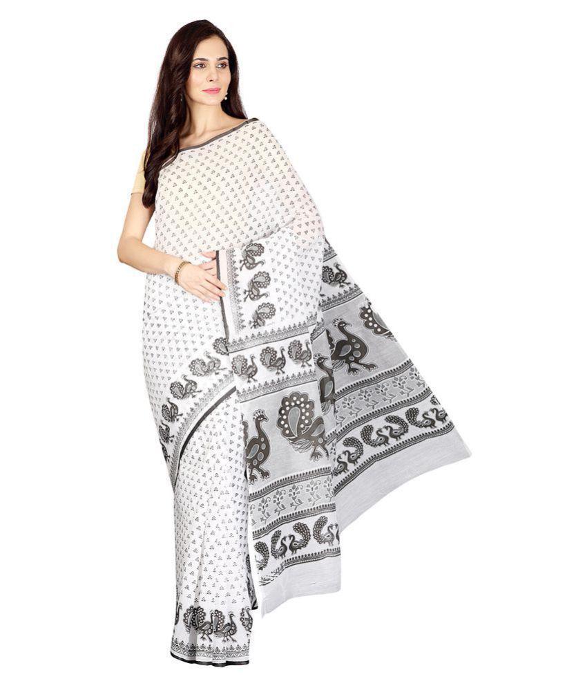 Pavecha's White,Grey Cotton Saree