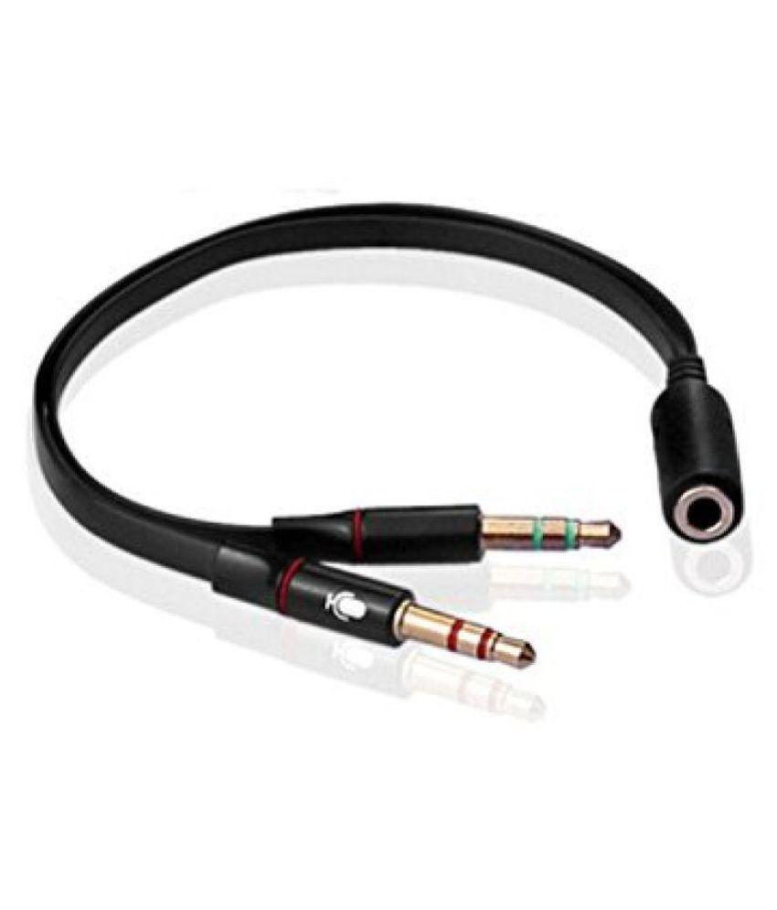 3.5 mm Stereo Mini Jack 1 Female to 2 Male (Headphone + mic) Y Splitter Earphone Audio Cable (Black) - Buy 3.5 mm Stereo Mini Jack 1 Female to 2 Male ...