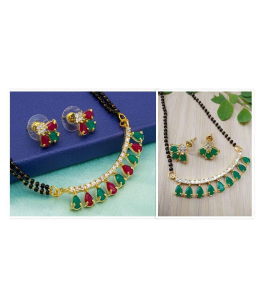 Darshini Designs combo of green and red and green mangalsutra set for women