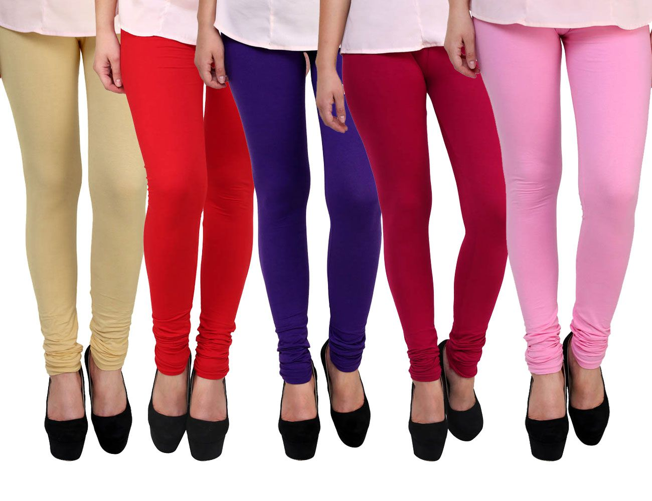 FnMe Cotton Lycra Pack of 5 Leggings
