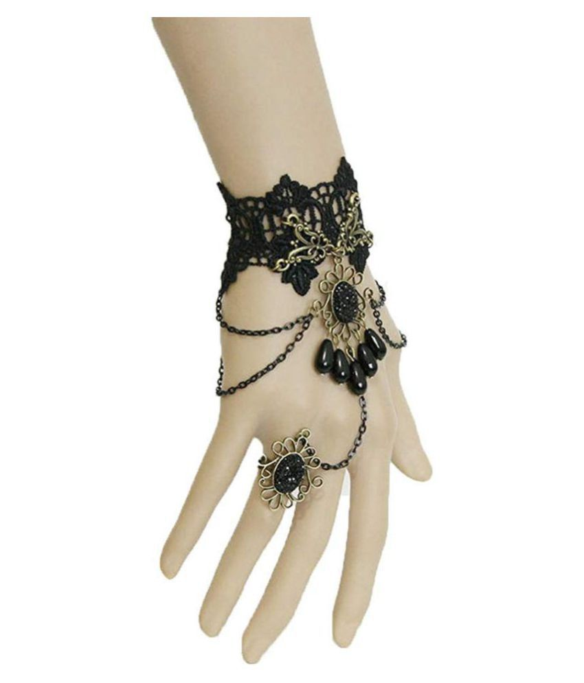 Romp Fashion Gothic Black Bead Style Lace Bracelet with Adjustable Finger Ring for Girls Women