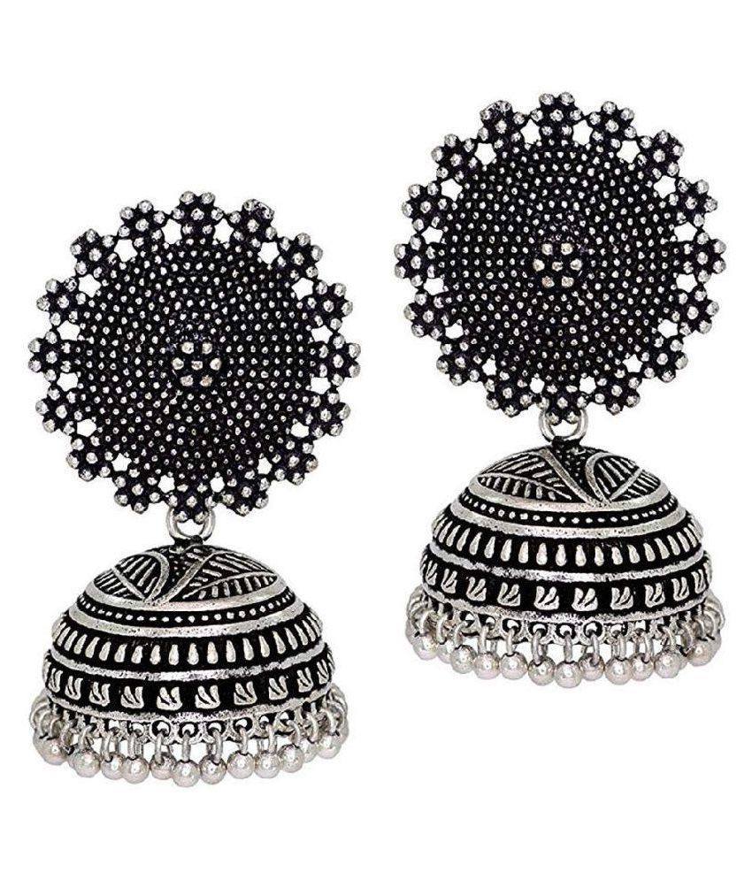 Tiptop Silver Oxidized Afghani Ethic and Traditional earring for girls & women