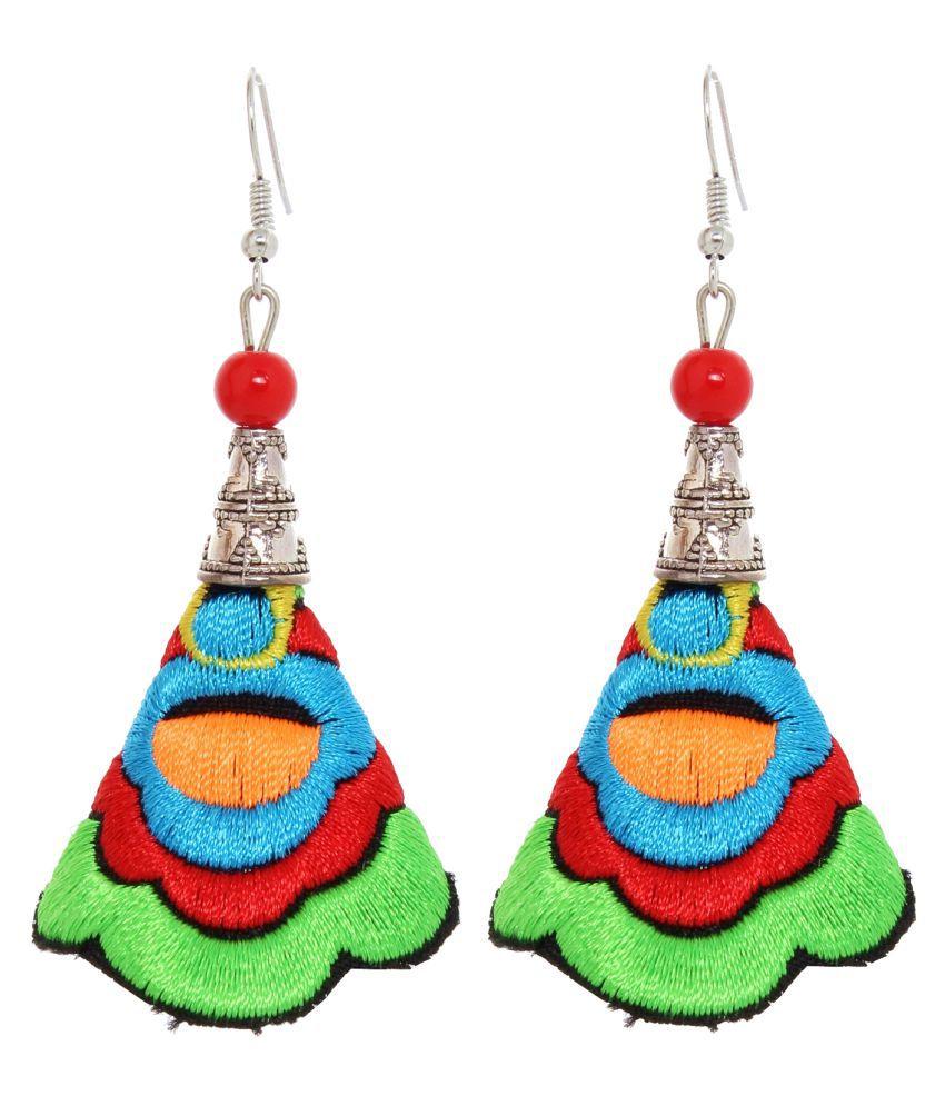 Lucky Jewellery Latest Designer Stylish Thread Multi Strand Work Earring For Girls & Women