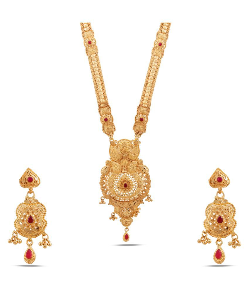 Maalyaa Brass Golden Collar Traditional Gold Plated Necklaces Set
