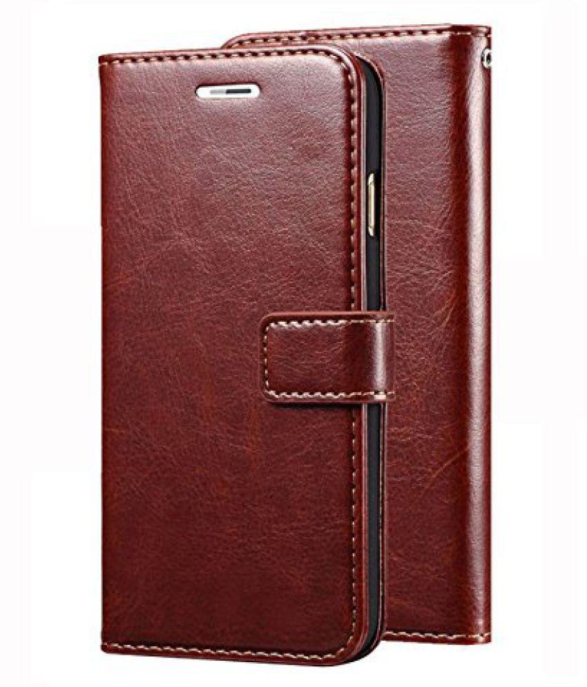 Redmi Note 4X Flip Cover by ClickAway - Brown Original Vintage Wallet Flip Case with Kickstand