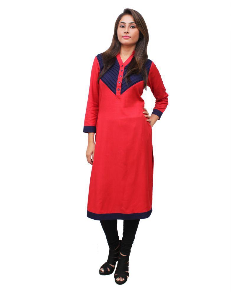 Kalakaari Red Rayon A-line Kurti