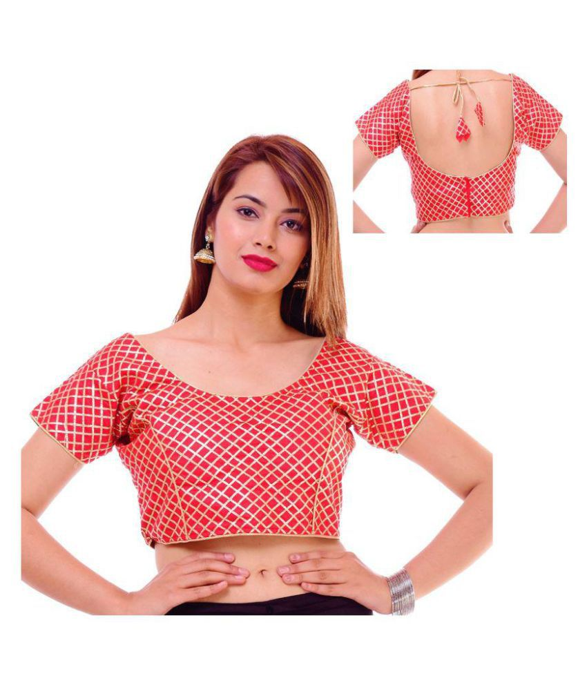 Wow Red Silk Readymade with Pad Blouse